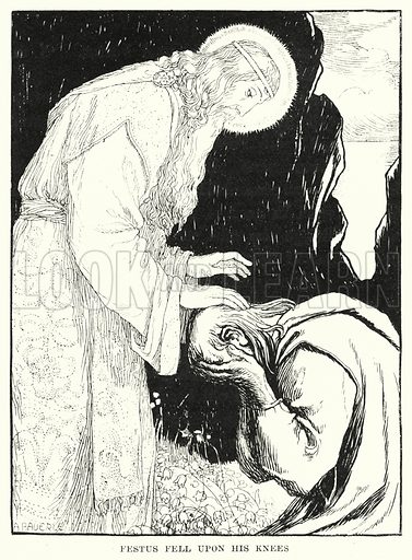 Festus fell upon his knees. Illustration for Allegories by Frederic W Farrar with illustrations by Amelia Bauerle (Longmans Green, 1898).