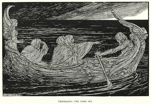 Traversing the dark sea. Illustration for Allegories by Frederic W Farrar with illustrations by Amelia Bauerle (Longmans Green, 1898).