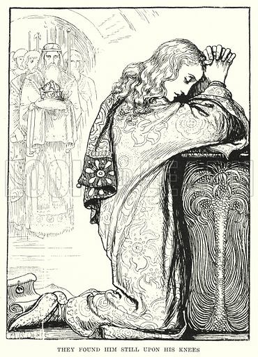 They found him still upon his knees. Illustration for Allegories by Frederic W Farrar with illustrations by Amelia Bauerle (Longmans Green, 1898).