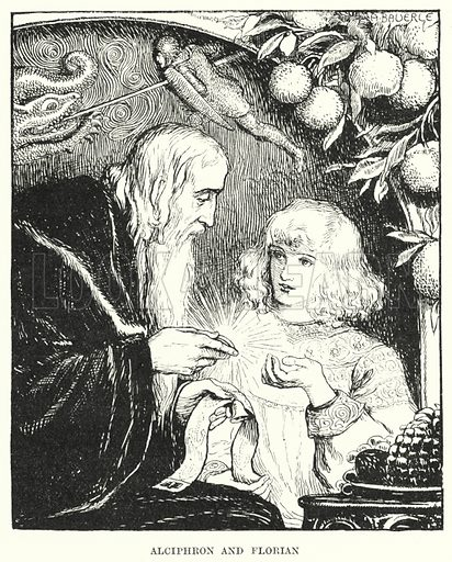 Alciphron and Florian. Illustration for Allegories by Frederic W Farrar with illustrations by Amelia Bauerle (Longmans Green, 1898).