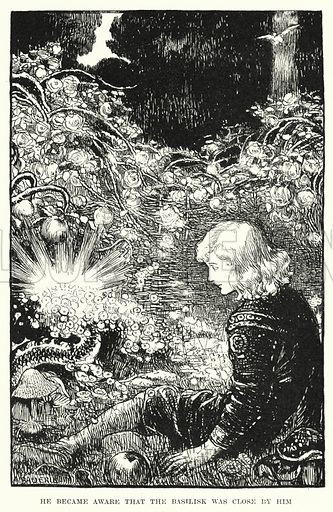 He became aware that the Basilisk was close by him. Illustration for Allegories by Frederic W Farrar with illustrations by Amelia Bauerle (Longmans Green, 1898).