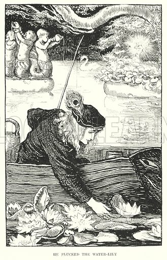 He plucked the water-lily. Illustration for Allegories by Frederic W Farrar with illustrations by Amelia Bauerle (Longmans Green, 1898).