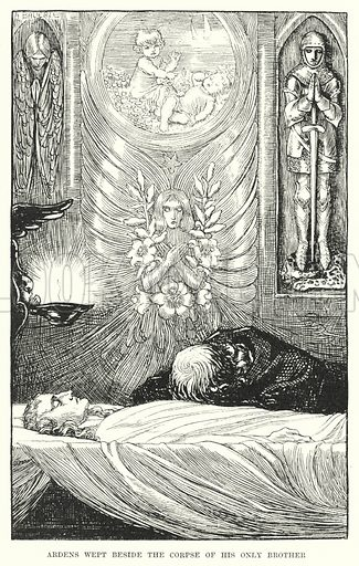 Ardens wept beside the corpse of his only brother. Illustration for Allegories by Frederic W Farrar with illustrations by Amelia Bauerle (Longmans Green, 1898).