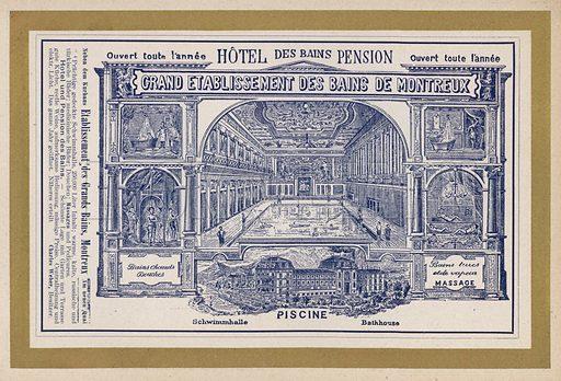 Advertisement for Grand Etablissement Des Bains De Montreux. Illustration for Album der Schweiz (Neu-Ausgabe, J A Preuss, c 1900).