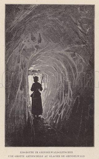 Eisgrotte im Grindelwaldgletscher, Une Grotte Artificielle au Glacier de Grindelwald. Illustration for Album der Schweiz (Neu-Ausgabe, J A Preuss, c 1900).