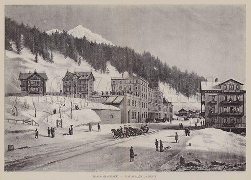 Davos im Schnee, Davos dans la Neige. Illustration for Album der Schweiz (Neu-Ausgabe, J A Preuss, c 1900).