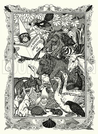 Frontispiece illustration for A Hundred Anecdotes of Animals with pictures by Percy J Billinghurst (John Lane, The Bodley Head, 1901).
