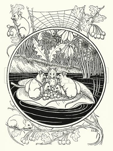 Mice as Navigators. Illustration for A Hundred Anecdotes of Animals with pictures by Percy J Billinghurst (John Lane, The Bodley Head, 1901).