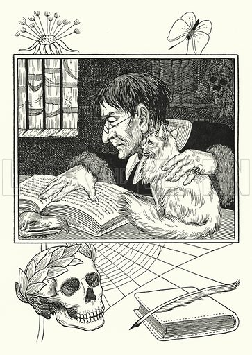 Sonnini and his Cat. Illustration for A Hundred Anecdotes of Animals with pictures by Percy J Billinghurst (John Lane, The Bodley Head, 1901).
