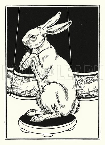 Tames Hares. Illustration for A Hundred Anecdotes of Animals with pictures by Percy J Billinghurst (John Lane, The Bodley Head, 1901).