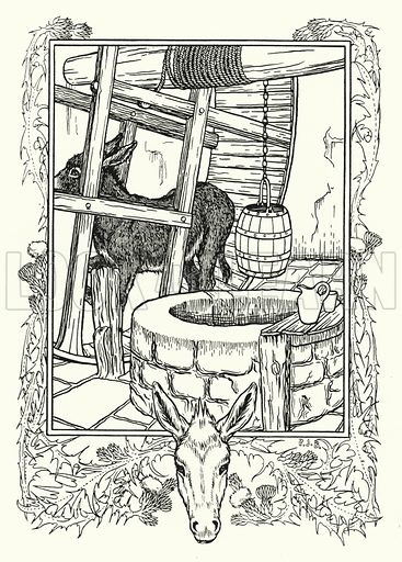 Drawing Water. Illustration for A Hundred Anecdotes of Animals with pictures by Percy J Billinghurst (John Lane, The Bodley Head, 1901).