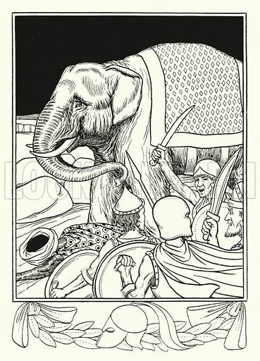 Porus saved by his elephant. Illustration for A Hundred Anecdotes of Animals with pictures by Percy J Billinghurst (John Lane, The Bodley Head, 1901).