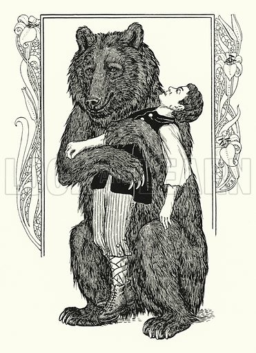 The Bear and the Child. Illustration for A Hundred Anecdotes of Animals with pictures by Percy J Billinghurst (John Lane, The Bodley Head, 1901).