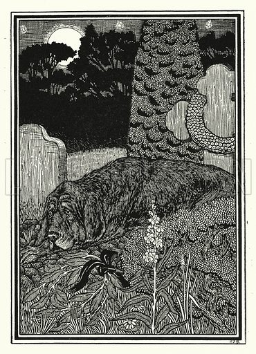 The dog of Montargis. Illustration for A Hundred Anecdotes of Animals with pictures by Percy J Billinghurst (John Lane, The Bodley Head, 1901).