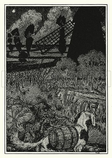Canine Smugglers. Illustration for A Hundred Anecdotes of Animals with pictures by Percy J Billinghurst (John Lane, The Bodley Head, 1901).