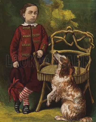 Boy with dog. Illustration for Animal Sagacity (S W Partridge, c 1866).
