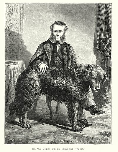 """Rev William M Wight, and his noble dog """"Friend."""" Illustration for Animal Sagacity (S W Partridge, c 1866)."""