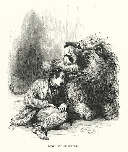 Lion and his keeper. Illustration for Animal Sagacity (S W Partridge, c 1866).