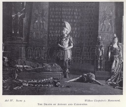 The death of Antony and Cleopatra. Illustration for Shakespeare's Antony and Cleopatra as arranged for the stage by Herbert Beerbohm Tree (Warrington, 1907).  Photographs by F W Burford.