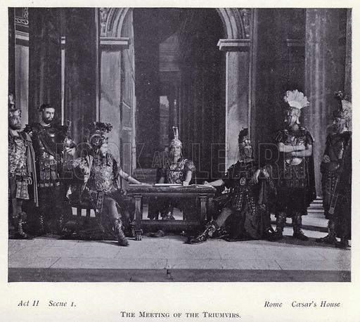 The meeting of the Triumvirs. Illustration for Shakespeare's Antony and Cleopatra as arranged for the stage by Herbert Beerbohm Tree (Warrington, 1907).  Photographs by F W Burford.