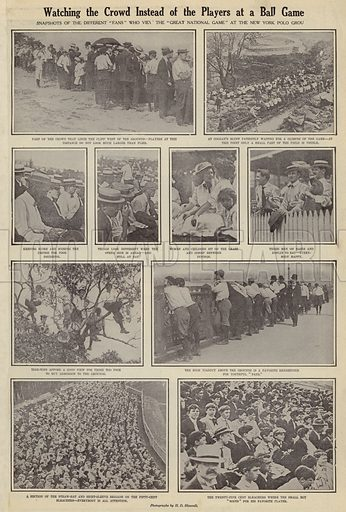 Watching the crowd instead of the players at a ball game. Illustration for Around the World with a Camera (Leslie-Judge Company, 1910).