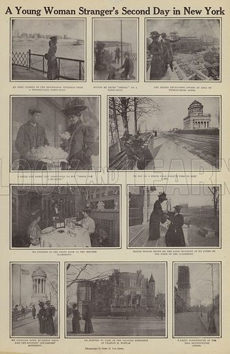 A young woman stranger's second day in New York. Illustration for Around the World with a Camera (Leslie-Judge Company, 1910).