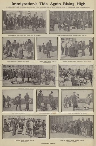 Immigration's tide again rising high. Illustration for Around the World with a Camera (Leslie-Judge Company, 1910).