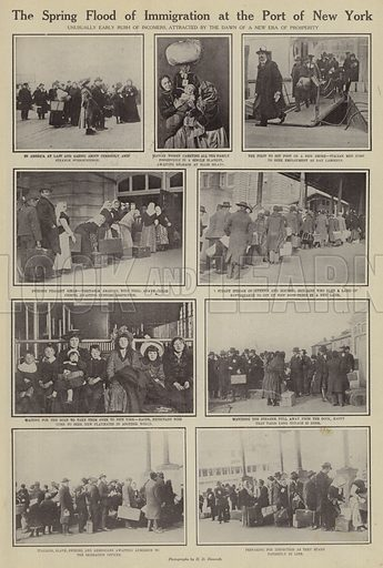The spring flood of immigration at the port of New York. Illustration for Around the World with a Camera (Leslie-Judge Company, 1910).