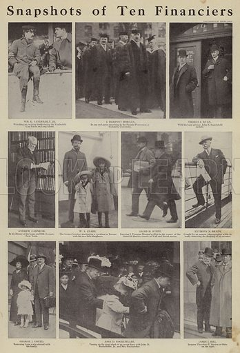 Snapshots of ten financiers. Illustration for Around the World with a Camera (Leslie-Judge Company, 1910).