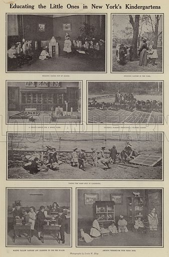 Educating the little ones in New York's kindergartens. Illustration for Around the World with a Camera (Leslie-Judge Company, 1910).