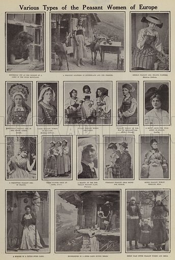 Various types of the peasant women of Europe. Illustration for Around the World with a Camera (Leslie-Judge Company, 1910).