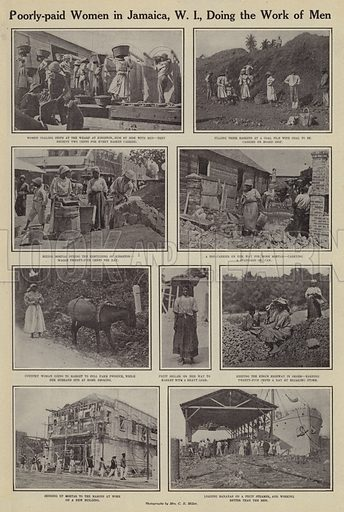 Poorly-paid women in Jamaica, West Indies, doing the work of men. Illustration for Around the World with a Camera (Leslie-Judge Company, 1910).