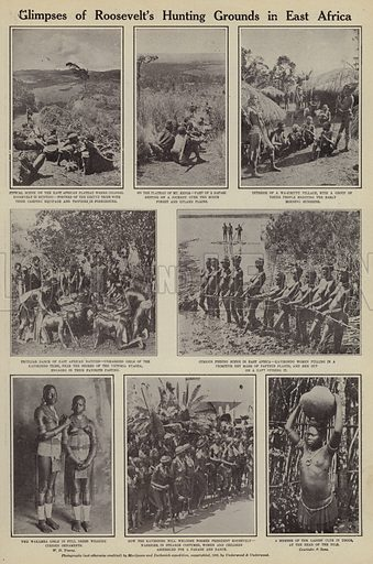 Glimpses of Roosevelt's hunting grounds in East Africa. Illustration for Around the World with a Camera (Leslie-Judge Company, 1910).