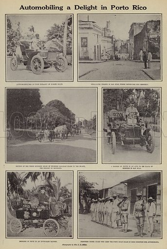 Automobiling a delight in Porto Rico. Illustration for Around the World with a Camera (Leslie-Judge Company, 1910).