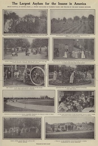 The largest asylum for the insane in America. Illustration for Around the World with a Camera (Leslie-Judge Company, 1910).