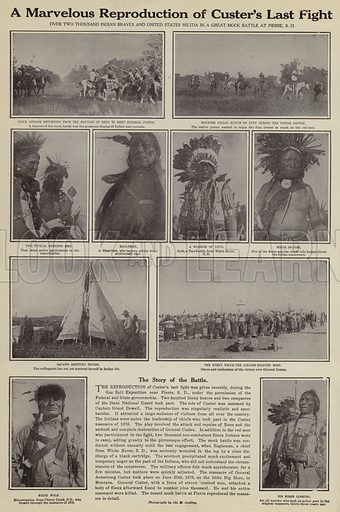 A marvelous reproduction of Custer's last fight. Illustration for Around the World with a Camera (Leslie-Judge Company, 1910).