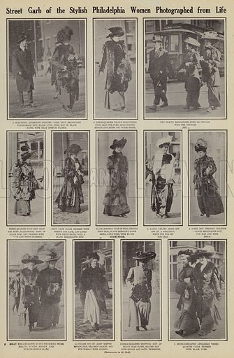 Street garb of the stylish Philadelphia women photographed from life. Illustration for Around the World with a Camera (Leslie-Judge Company, 1910).