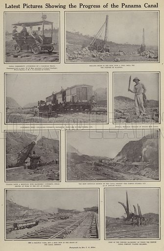 Latest pictures showing the progress of the Panama Canal. Illustration for Around the World with a Camera (Leslie-Judge Company, 1910).