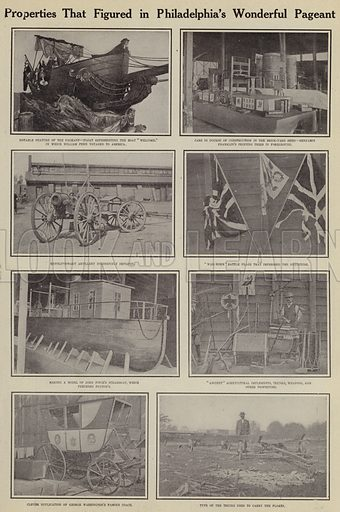 Properties that figured in Philadelphia's wonderful pageant. Illustration for Around the World with a Camera (Leslie-Judge Company, 1910).
