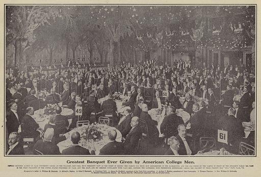 Greatest banquet ever given by American college men. Illustration for Around the World with a Camera (Leslie-Judge Company, 1910).