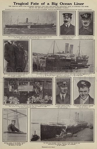 Tragical fate of a big ocean liner. Illustration for Around the World with a Camera (Leslie-Judge Company, 1910).