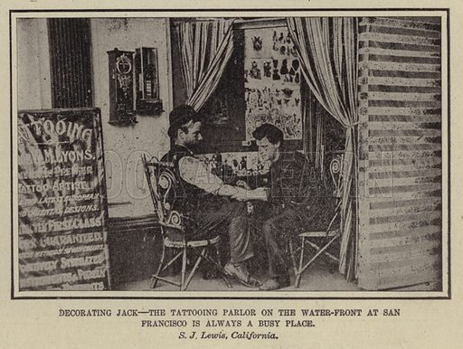 Tattooing parlor at San Francisco. Illustration for Around the World with a Camera (Leslie-Judge Company, 1910).