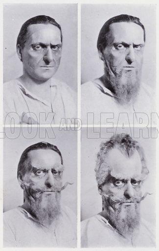 Don Quixote, progressive pictures. Illustration for The Art of Theatrical Make-up by Cavendish Morton (1874-1939) (A&C Black, 1909).