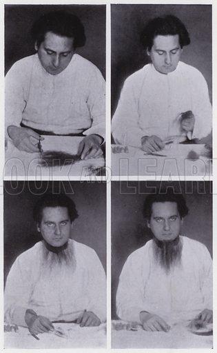 False beards, twelve progressive pictures. Illustration for The Art of Theatrical Make-up by Cavendish Morton (1874-1939) (A&C Black, 1909).  See adjacent images.