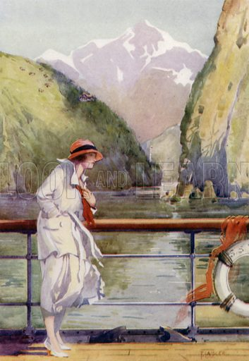 Sailing through the mountains of Norway. Illustration for Arthur Mee's Golden Year (Hodder and Stoughton, c 1922).