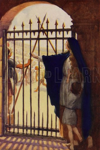 The gladiator's wife at the gate of the Arena of Arles. Illustration for Arthur Mee's Golden Year (Hodder and Stoughton, c 1922).