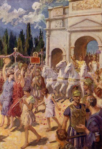Caesar passes by. Illustration for Arthur Mee's Golden Year (Hodder and Stoughton, c 1922).