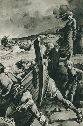 The Vikings who sailed out from the fjords of Norway and found America long before Columbus. Illustration for Arthur Mee's Golden Year (Hodder and Stoughton, c 1922).