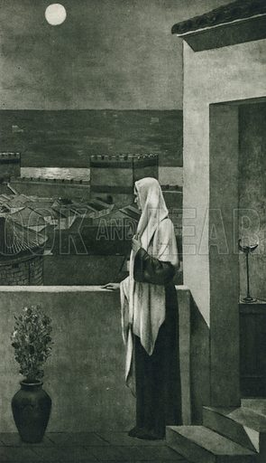 Sainte Genevieve looks down on the city she loved, from the painting in the Pantheon in Paris by Puvis de Chavannes. Illustration for Arthur Mee's Golden Year (Hodder and Stoughton, c 1922).