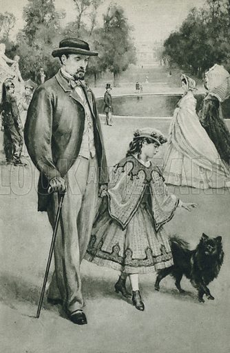 Louis Pasteur takes a walk, little did this small child dream as she walked in the Tuileries Gardens with her daddie, how great and immortal he was. Illustration for Arthur Mee's Golden Year (Hodder and Stoughton, c 1922).
